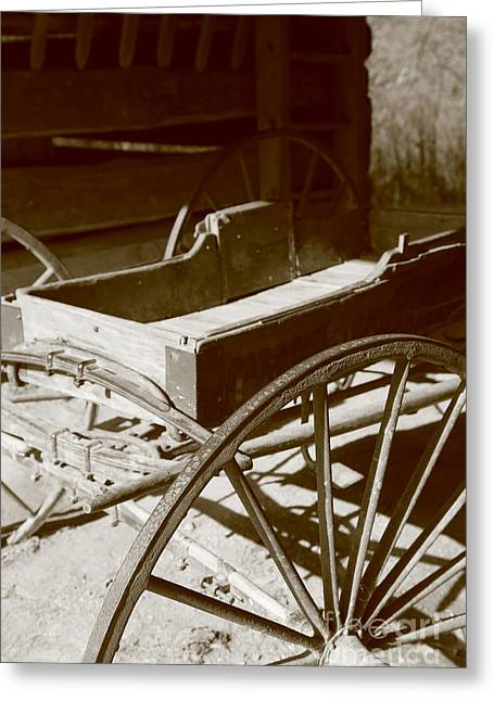 Horse And Cart Greeting Cards - Wagon in a barn Greeting Card by Dwight Cook