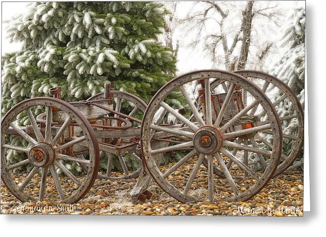 Wooden Wagons Mixed Media Greeting Cards - Wagon in Winter Greeting Card by Amanda Smith
