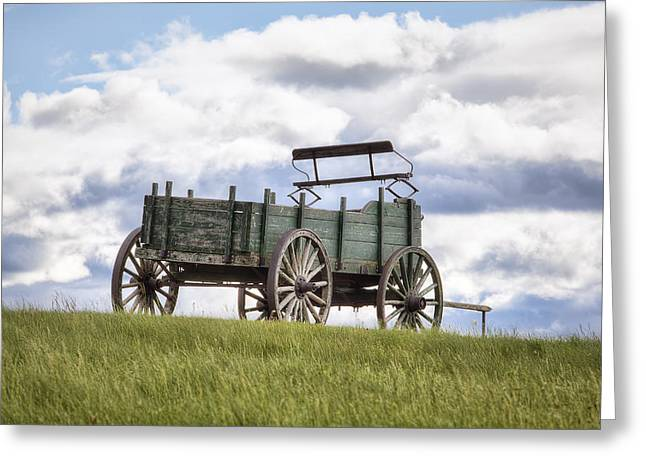 Wooden Wagons Greeting Cards - Wagon on a Hill Greeting Card by Eric Gendron