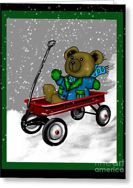 Wagon Mixed Media Greeting Cards - Wagon Teddybear Greeting Card by Karen Sheltrown