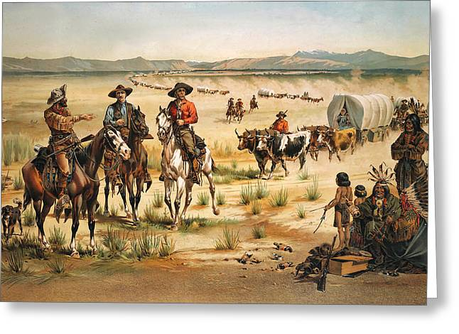 Wagon Train Greeting Card by Unknown