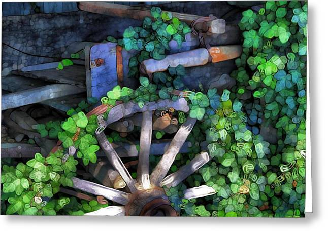 Rucker Greeting Cards - Wagon Wheel And Ivy Abstract Greeting Card by Dan Sproul