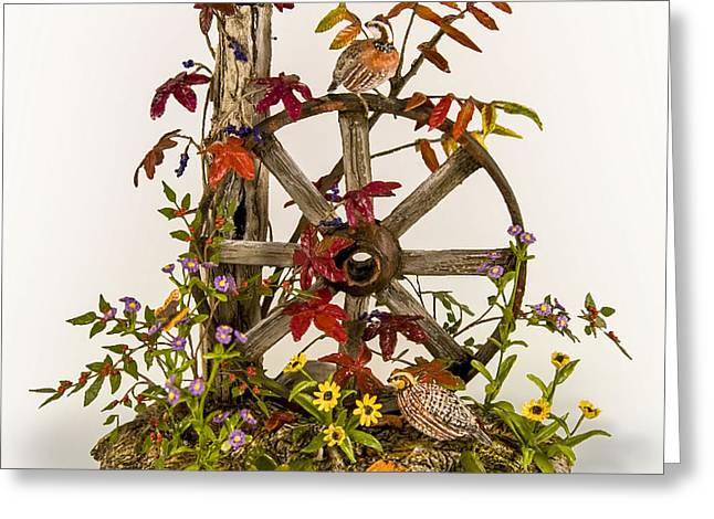 Wagon Wheel and Quail Greeting Card by Mary Mcgrath