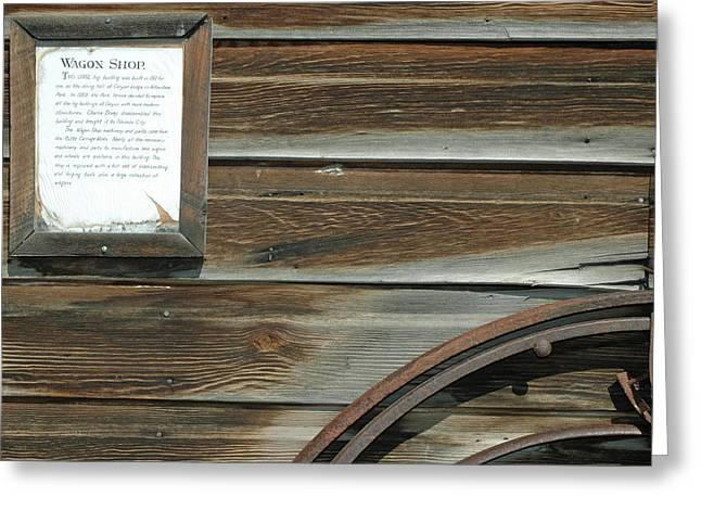 Gold Trout Greeting Cards - Wagon Wheel and Wagon Shop Nevada City Montana Greeting Card by Bruce Gourley