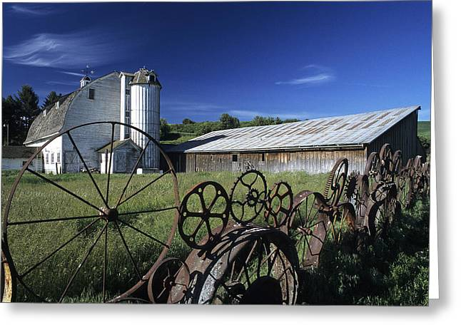 Wooden Building Greeting Cards - Wagon Wheel Barn Greeting Card by Latah Trail Foundation