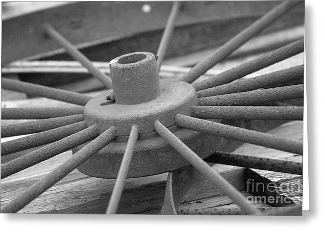 Calcined Greeting Cards - Wagon Wheel Black and White Greeting Card by Thomas Woolworth