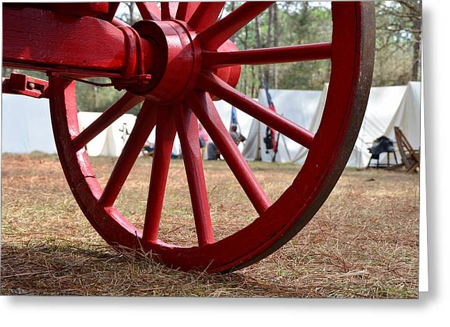Red Wagon Greeting Cards - Wagon wheel camp Greeting Card by David Lee Thompson