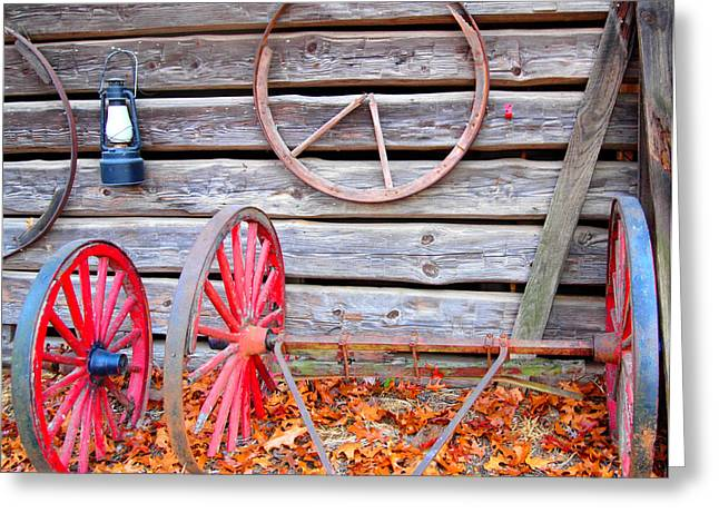Rucker Greeting Cards - Wagon Wheel Greeting Card by Dan Sproul