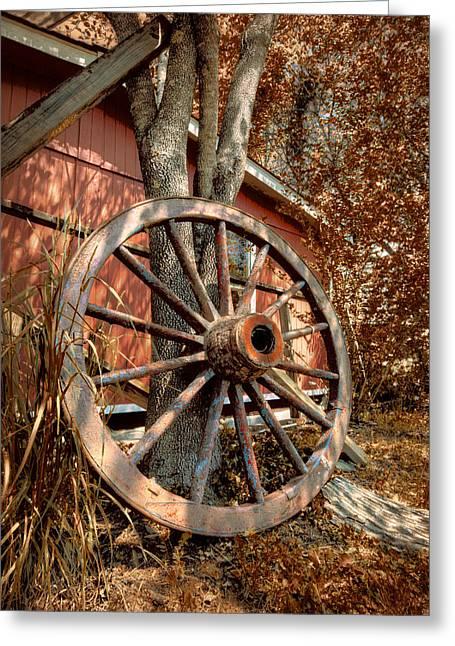 Wagon Wheel Greeting Card by Debra and Dave Vanderlaan