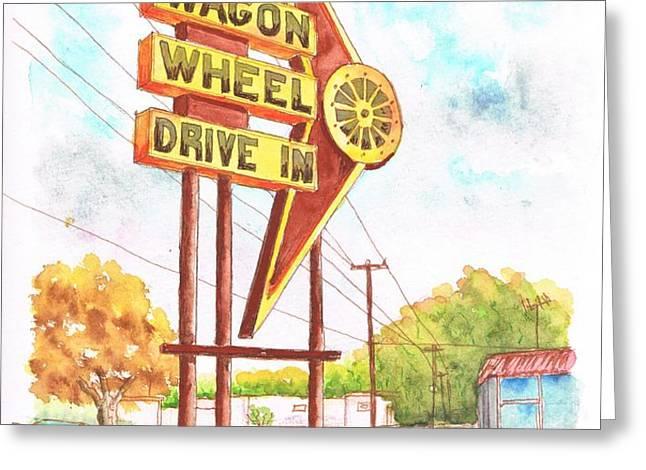 Wagon Wheel Drive In in Big Spring - Texas Greeting Card by Carlos G Groppa