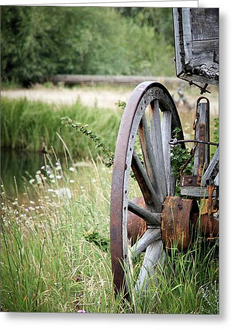 Lewis Gun Greeting Cards - Wagon Wheel In Grass Greeting Card by Athena Mckinzie