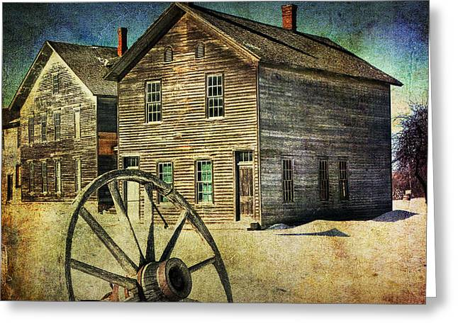 Peninsula State Park Greeting Cards - Wagon Wheel in Winter at the Mining Ghost Town at Fayette Michigan State Park Greeting Card by Randall Nyhof
