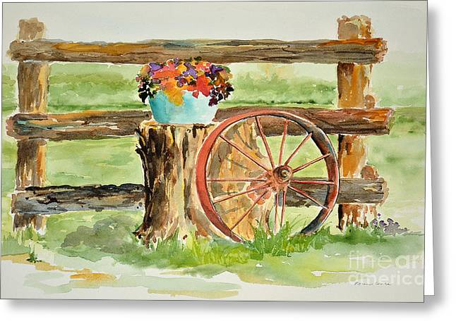 Wooden Wagons Paintings Greeting Cards - Wagon Wheel Greeting Card by Karen Crate