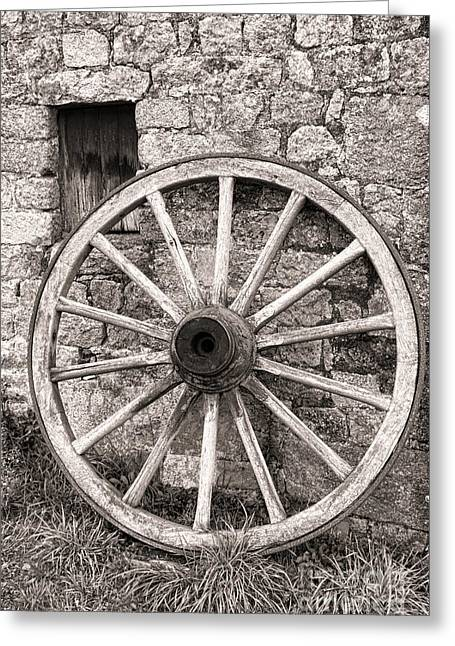 Wooden Wagons Greeting Cards - Wagon Wheel Greeting Card by Olivier Le Queinec