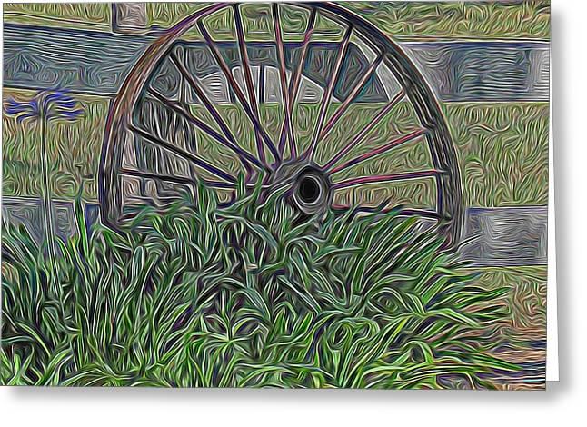 Wagon Wheels Mixed Media Greeting Cards - Wagon Wheel Greeting Card by Pamela Walton