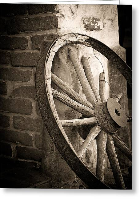 Wagon Wheels Photographs Greeting Cards - Wagon Wheel Greeting Card by Peter Tellone