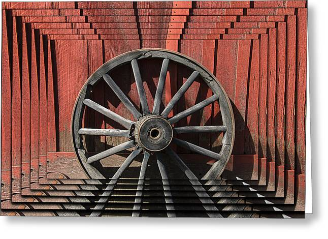 Wooden Wagons Greeting Cards - Wagon wheel zoom Greeting Card by Garry Gay