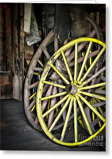 Wagon Wheels Greeting Cards - Wagon Wheels Greeting Card by Colleen Kammerer