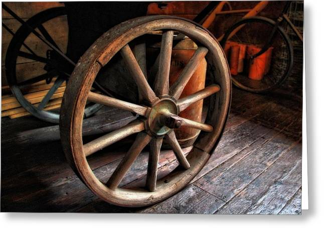Old Wagons Greeting Cards - Wagon Wheels Greeting Card by Dan Sproul