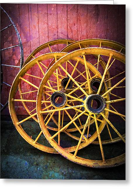Spindle Greeting Cards - Wagon Wheels Greeting Card by Debra and Dave Vanderlaan