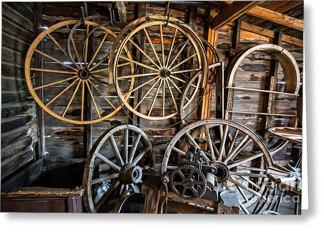 Wooden Wagons Greeting Cards - Wagon Wheels Greeting Card by Edward Fielding