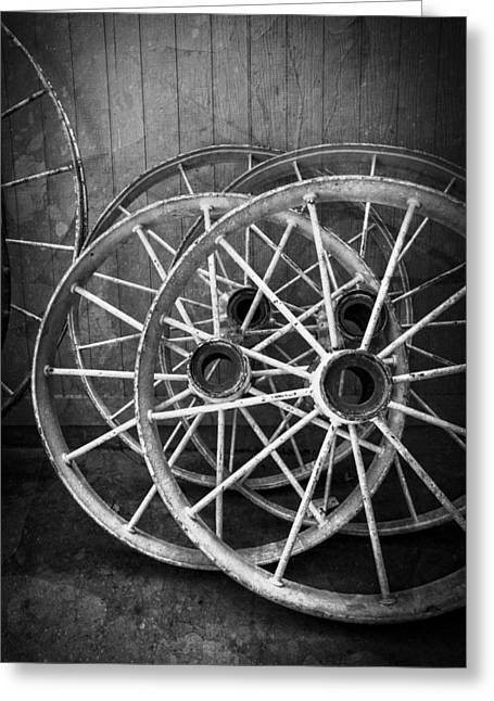 Spindle Greeting Cards - Wagon Wheels in Black and White Greeting Card by Debra and Dave Vanderlaan