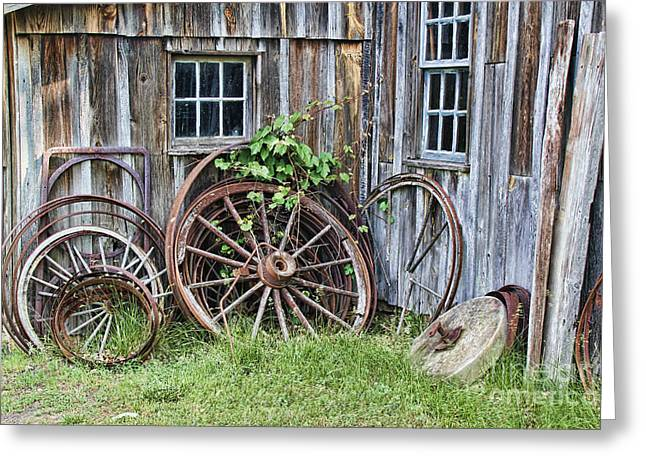 Wagon Wheels In Color Greeting Card by Crystal Nederman