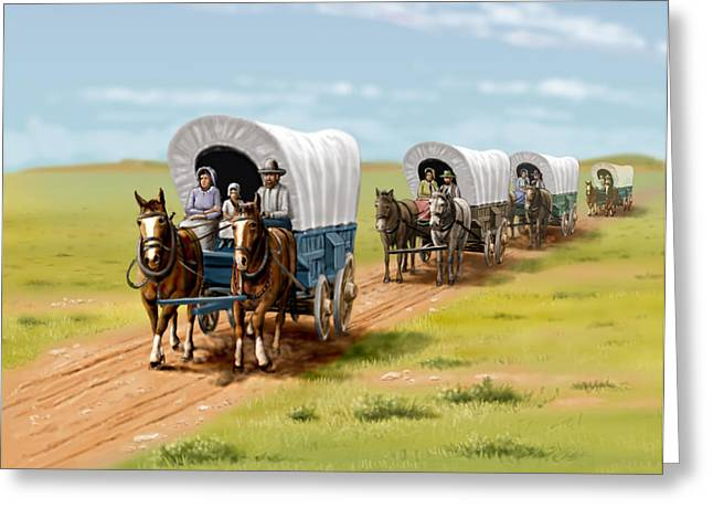 Grapevines Digital Art Greeting Cards - Wagons West Establish Grapevine Texas - Wagon Train Greeting Card by Walt Curlee