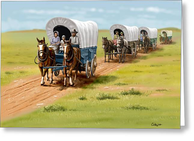Historic Schooner Digital Greeting Cards - Wagons West Establish Grapevine Texas - Wagon Train Greeting Card by Walt Curlee