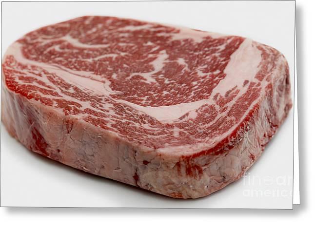 Kobe Greeting Cards - Wagyu ribeye steak raw Greeting Card by Paul Cowan