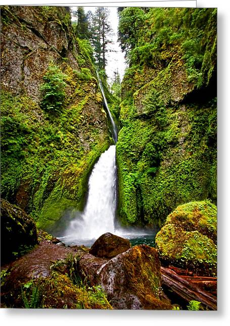 State Parks In Oregon Greeting Cards - Wahclella Falls In Oregon Greeting Card by Athena Mckinzie