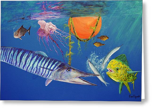 Wahoo Greeting Cards - Wahoo Dolphin Painting Greeting Card by Ken Figurski