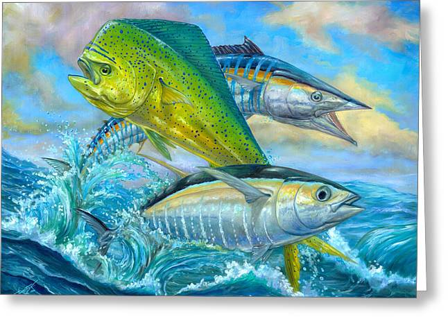Terry Greeting Cards - Wahoo Mahi Mahi And Tuna Greeting Card by Terry  Fox