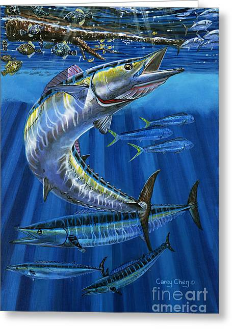 Sportfishing Boats Greeting Cards - Wahoo Rip Off0047 Greeting Card by Carey Chen