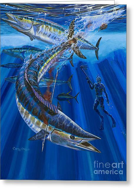 Wahoo Spear Greeting Card by Carey Chen