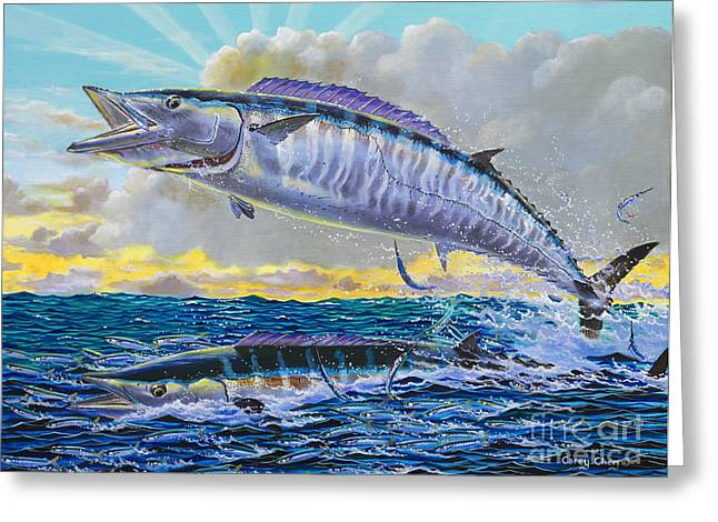 Salmon Paintings Greeting Cards - Wahoo sunrise Off0064 Greeting Card by Carey Chen