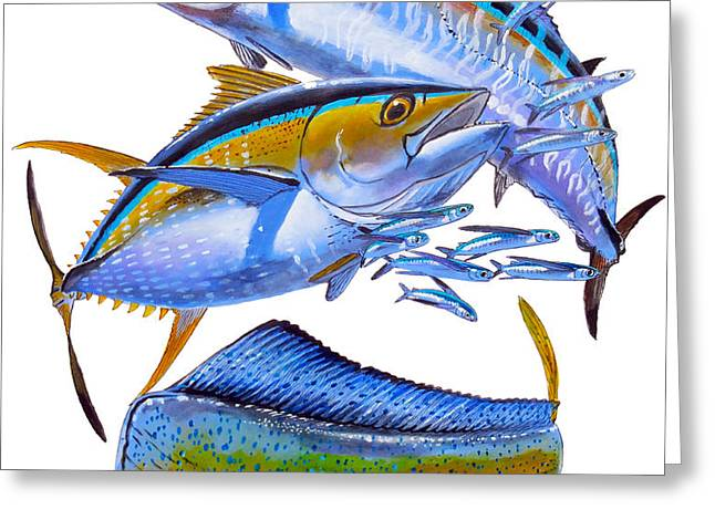 Wahoo Tuna Dolphin Greeting Card by Carey Chen