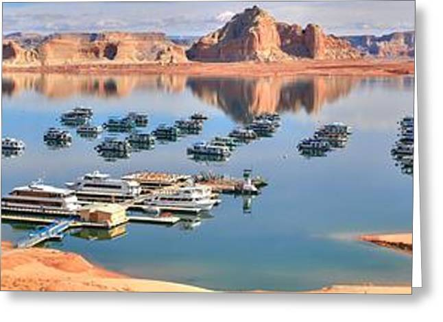 Wahweap Greeting Cards - Wahweap Marina Panoramic Greeting Card by Adam Jewell