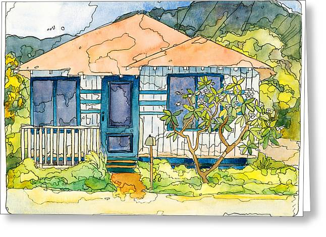 Maui Mixed Media Greeting Cards - Waianae House Greeting Card by Stacy Vosberg