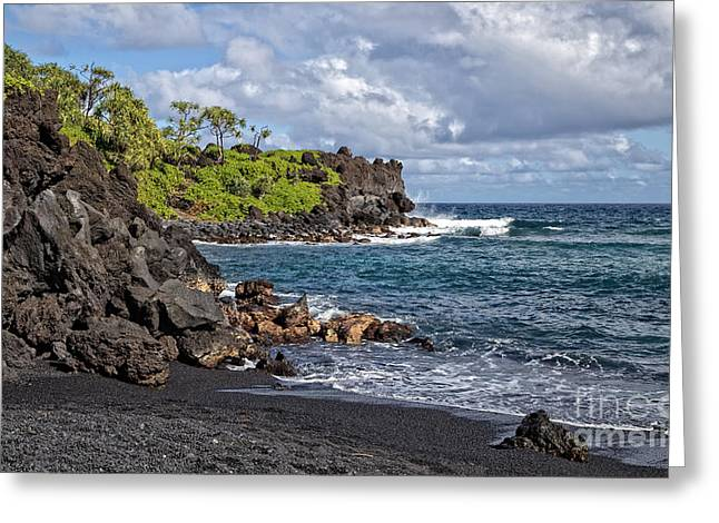Panoramic Ocean Greeting Cards - Waianapanapa State Parks Black Sand Beach Maui Hawaii Greeting Card by Edward Fielding