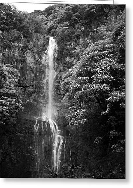 Paradise Road Greeting Cards - Waikani Falls at Wailua Maui Hawaii B W Greeting Card by Connie Fox
