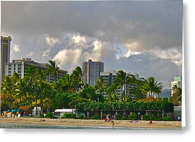 Photograph Of Painter Greeting Cards - Waikiki Beach - No.380 Greeting Card by Joe Finney