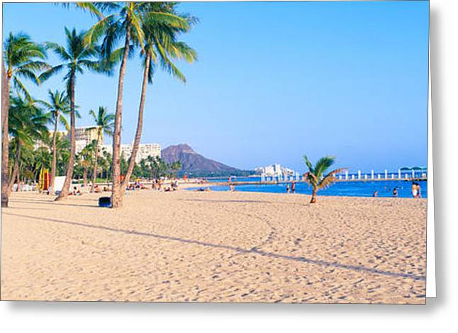 Ocean Shore Greeting Cards - Waikiki Beach And Diamond Head Greeting Card by Panoramic Images