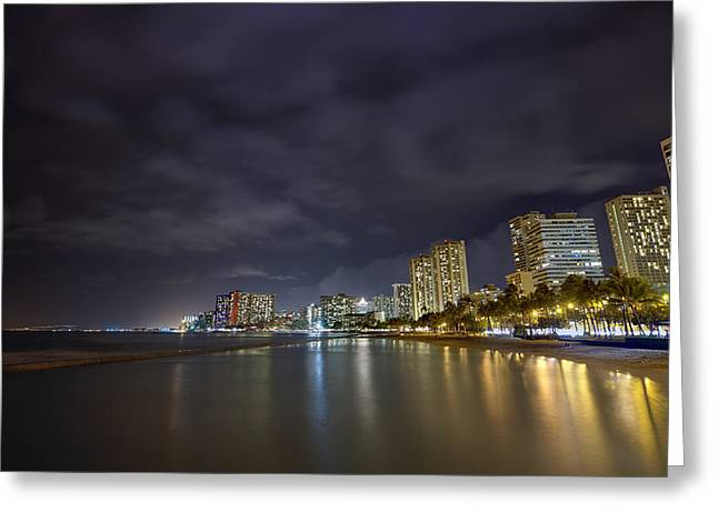 Top Seller Greeting Cards - Waikiki beach at night Greeting Card by Tin Lung Chao