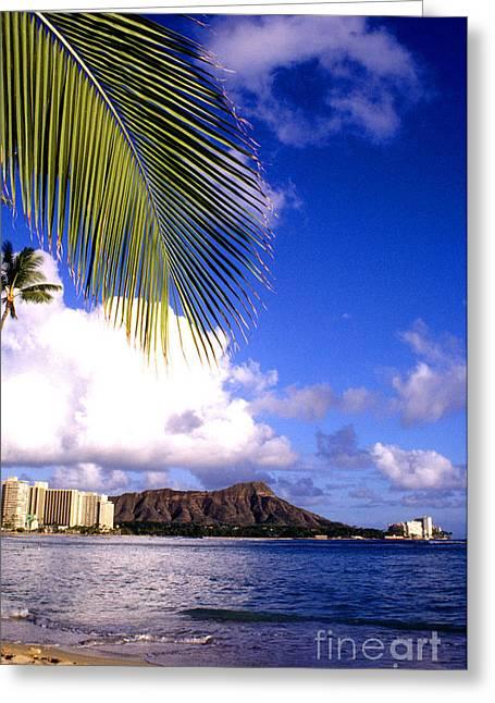 Waikiki Greeting Cards - Waikiki Beach Diamond Head Greeting Card by Thomas R Fletcher