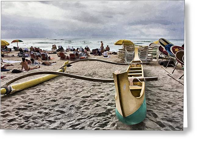 Canoe Photographs Greeting Cards - Waikiki Beach Hawaii Greeting Card by Douglas Barnard