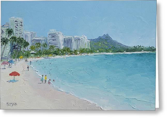 Sandy Beaches Greeting Cards - Waikiki beach Honolulu Hawaii Greeting Card by Jan Matson