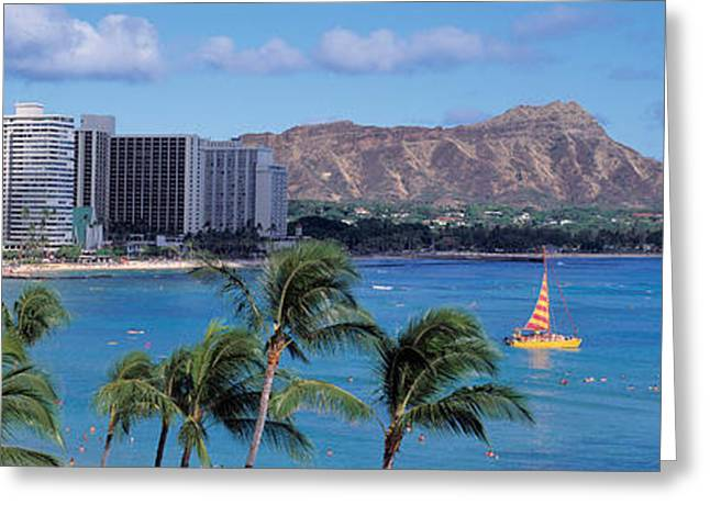 Waikiki Beach, Honolulu, Hawaii, Usa Greeting Card by Panoramic Images