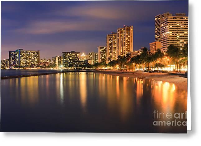 Warm Colours Greeting Cards - Waikiki Beach - Honolulu Greeting Card by Henk Meijer Photography