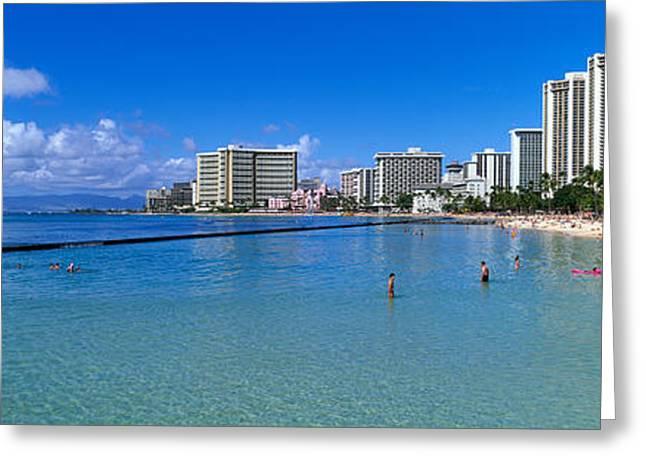 Tropical Island Greeting Cards - Waikiki Beach Honolulu Oahu Hi Greeting Card by Panoramic Images